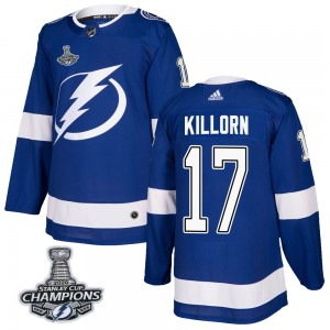 Youth Tampa Bay Lightning Alex Killorn Adidas Authentic Home 2020 Stanley Cup Champions Jersey - Blue