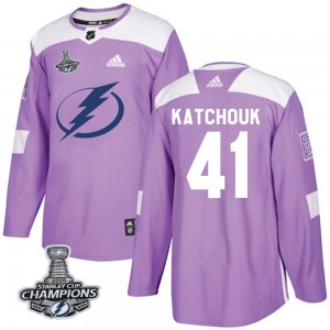Youth Tampa Bay Lightning Boris Katchouk Adidas Authentic Fights Cancer Practice 2020 Stanley Cup Champions Jersey - Purple