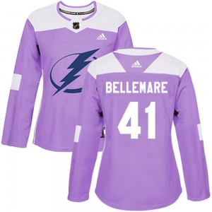 Women's Tampa Bay Lightning Pierre-Edouard Bellemare Adidas Authentic Fights Cancer Practice Jersey - Purple