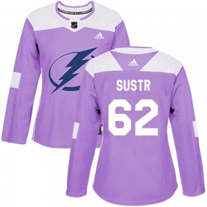 Women's Tampa Bay Lightning Andrej Sustr Adidas Authentic Fights Cancer Practice Jersey - Purple