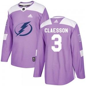 Men's Tampa Bay Lightning Fredrik Claesson Adidas Authentic Fights Cancer Practice Jersey - Purple