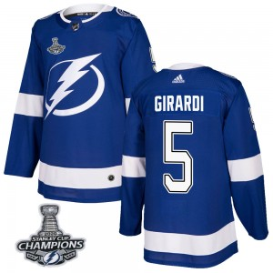 Men's Tampa Bay Lightning Dan Girardi Adidas Authentic Home 2020 Stanley Cup Champions Jersey - Blue
