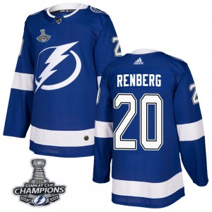 Men's Tampa Bay Lightning Mikael Renberg Adidas Authentic Home 2020 Stanley Cup Champions Jersey - Blue