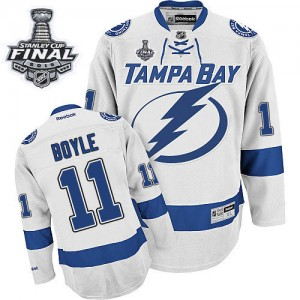 Men's Tampa Bay Lightning Brian Boyle Reebok Authentic Away 2015 Stanley Cup Patch Jersey - White